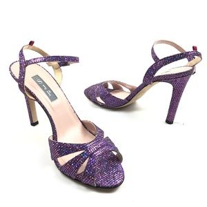 SJP PURPLE GLITER HIGH HEEL SANDALS SIZE 9